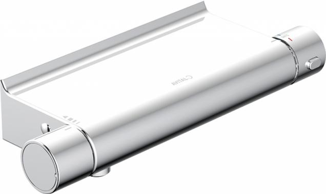 Sprchový termostat Avital AVON, provedení chrom s přihrádkou. Páčka pro regulaci teploty má bezpečnostní závěrku při 38 °C, záruka 10 let, cena 2 290 Kč (HORNBACH)