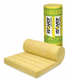 Izolační pásy ISOVER Unirol PROFI ze skelných vláken jsou vhodné pro stropy a do šikmých střech mezi krokve. Dodávají se v tloušťkách 50 až 200 mm (www.isover.cz)