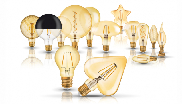 Série svítidel z Edice Vintage 1906, kterou představila společnost LEDVANCE, kombinuje moderní LED technologii s retro designem, odkazujícím na avantgardní styly 50., 60. a 70. let. Najdete v ní přes 30 modelů světelných zdrojů v pěti produktových řadách – Globe Glass, Cone Glass, Pipe, Carved Glass, Bubble Glass. Vybírat můžete z nejrůznějších typů, barev i tvarů žárovek. (Zdroj: LEDVANCE)