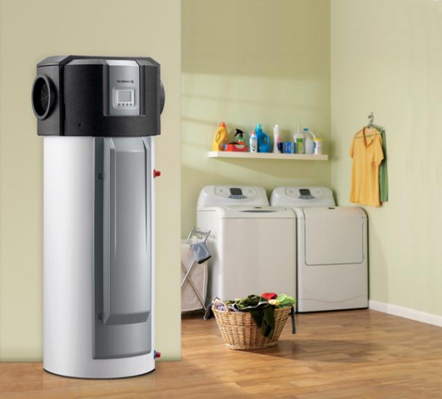 Termodynamický ohřívač Kaliko na principu tepelného čerpadla vzduch/voda získává energii ze vzduchu v domě, má vysoký topný faktor COP až 3,7 a díky tomu je až z e 70 % příprava teplé vody zdarma (DE DIETRICH)