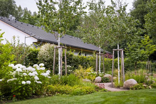 Výsadby jsou kombinací okrasných keřu s travinami a trvalkami, jejichž převládající barvou je zelená a bílá