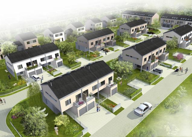 Obytný soubor Písnické rezidence tvoří solitérní domy, dvojdomy a tři až pět domů v řadě (dispozice vlevo). Dvojdomy oddělené garážemi poskytují větší soukromí. Díky rozvolněnější zástavbě vzniklo příjemné prostředí s množstvím zeleně