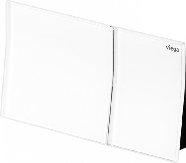 Designová ovládací deska pro vzdálené splachování Viega Visign for More 200 ve verzi z kvalitního tvrzeného bezpečnostního skla v barvě alpská bílá. (Zdroj: Viega)