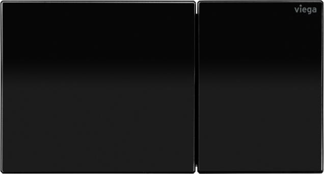 Designová ovládací deska pro vzdálené splachování Viega Visign for More 200 ve verzi z kvalitního tvrzeného bezpečnostního skla v barvě temně černá. (Zdroj: Viega)