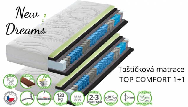 Taštičková matrace Top Comfort 1+1 (zdroj: newdreams.cz)