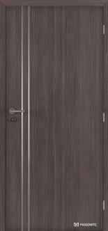 Protipožární kouřotěsné dveře jsou dodávané v různých dekorech i například s hliníkovými ozdobnými páskami. Na obrázku jsou dveře Masonite ALU I CPL premium v dekoru AVOLA. (Zdroj: Masonite)