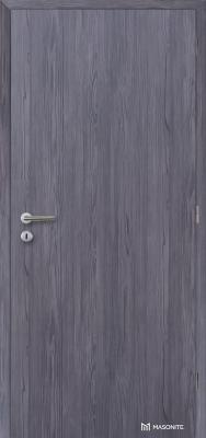 Protipožární dveře mají specifickou vnitřní konstrukci. Při jejich výběru se řiďte certifikátem. Na obrázku jsou požárně kouřotěsné dveře Masonite LUME EXTRA SMOKE CPL laminát deluxe, fleetwood lávověšedý vertikální. (Zdroj: Masonite)