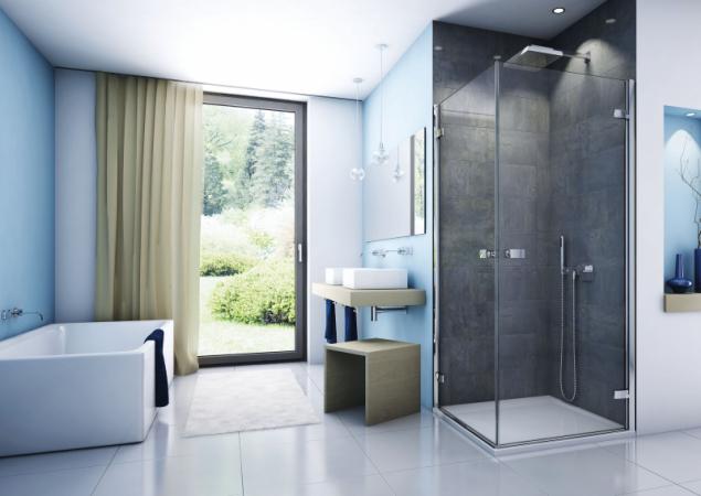 Řešíte, kam se sprchovým koutem? Sanswiss nabízí bohatou škálu typů, rozměrů a způsobů otevírání pro nejrůznější dispozice (na fotografii model Escura s dvoukřídlovými dveřmi)