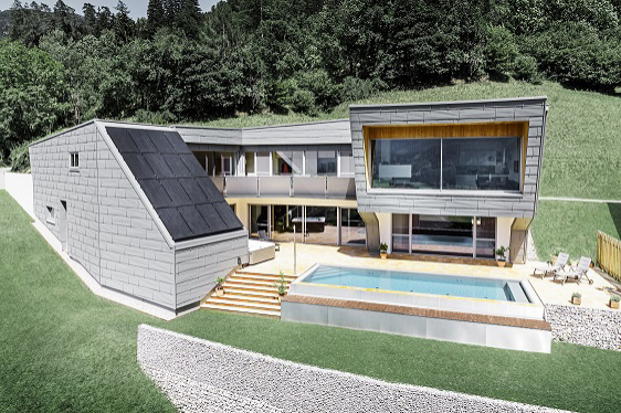 Haus K. v Dölsachu s aluminiovými fasádami a střechami (Zdroj: PREFA)