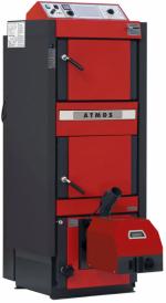 Nová řada kombi kotlů ATMOS DC 18SP(L), DC 25SP(L), DC 32SP(L) umožňuje ekologické spalování dřeva na principu generátorového zplynování v kombinaci s hořákem na pelety nebo lehký topný olej (ATMOS)