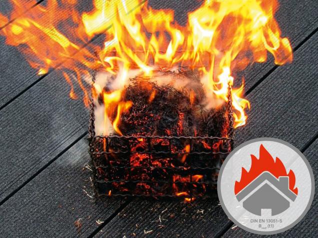 Terasová prkna Character Massive prošla zkouškou působení vnějšího požáru BROOF (t1). Jsou tedy vhodná i na ploché střechy nebo balkony. (Zdroj: Deceuninck)