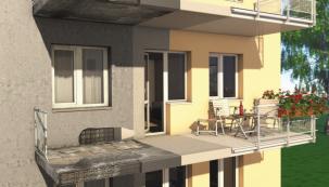 Renovace železobetonových konstrukcí balkonů, porovnání stavu (zdroj: Baumit)