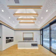 Dřevo je obstojným akustickým prvkem, který dokáže pohltit zvukové vlny. Jde ale pouze o materiál a záleží na architektovi, jakou roli a funkci využitelnému materiálu přiřadí (zdroj: Rigips)