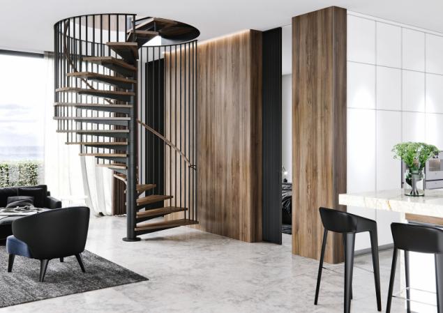 Průběžné zábradlí vyrobené z ocelové kulatiny nebo trubek, které lze barevně sladit s konstrukcí schodiště a okolním interiérem díky možnosti lakování odstíny ze vzorníku RAL (JAP FUTURE)