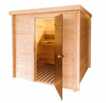 Vzhled finské sauny Váli respektuje tradici skandinávského saunování a léty prověřený design. Masivní smrkové dřevo propůjčuje sauně skvělé izolační vlastnosti, čistý vzhled bez množství suků a vysokou odolnost i životnost. Vnitřní výbava je v souladu s moderním trendem z extrémně trvanlivé termo osiky. Ta krásně provoní interiér a má na pohled nádherný čokoládový nádech (zdroj: Mountfield)