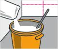 4. krok: První část fototapety lepte od středu a začněte vždy spodní řadou