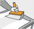 6. krok: Vždy natírejte jen jeden kus fototapety, jedno místo zdi, jinak vám lepidlo zaschne, fototapeta se začne trhat