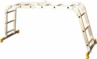 Čtyřdílný kloubový žebřík Forte, počet příček 3 x 4, max. délka 3,49 m až 4,63 m a šířka 350 mm, cena 2 990 Kč (HORNBACH)