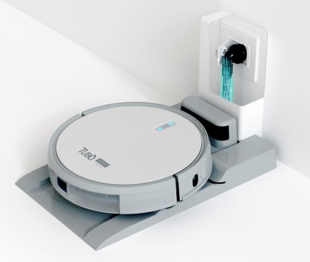 Robotický vysavač Robo se neomezuje pouze na vyprázdnění nádoby na prach, ale zároveň vyčistí filtry a hlavní kartáč, který se během samočisticího cyklu aktivuje mikrootáčením (HUSKY)