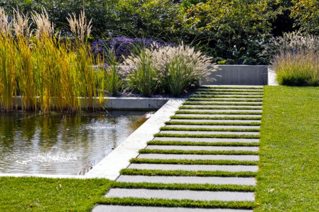 Přírodnímu koupališti nevadí ani trávník v jeho blízkosti. Chytrým nápadem je střídání dlažby s pruhy trávníku (foto: Atelier Flera)