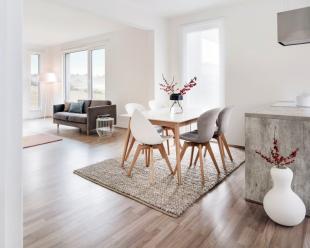 Velkorysé prosklení vnáší do společného obývacího prostoru množství světla a spolu s vhodně zvoleným nábytkem navozuje atmosféru klidu, pohody, pořádku a čistoty
