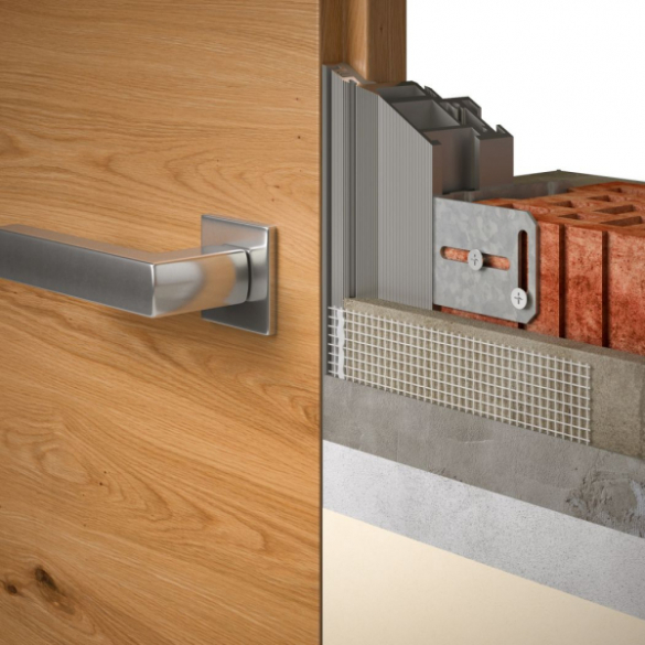 Omítka je u tohoto typu zárubní dotažena až k hraně dveřního křídla (na obr. reverzní provedení dveří)