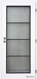 Dveře Clara Dakota se satinovaným prosklením ve čtyřech polích s kontrastním černým rámečkem