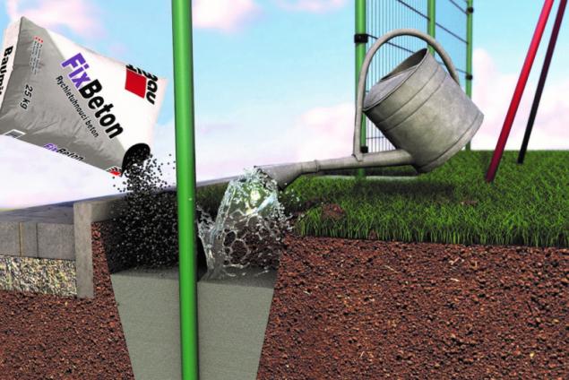Baumit FixBeton – 2. způsob aplikace – zalití suché směsi